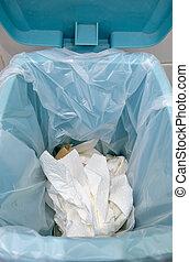 utilisé, sac, papier, beaucoup, closeup, toilette, trashcan., plastique
