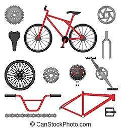utilisé, vélo, de-route, parties, vélo, bmx, sport, courses