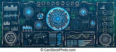utilisateur, app., interface, ui, business, head-up, futuriste, exposer, infographic, hud, éléments