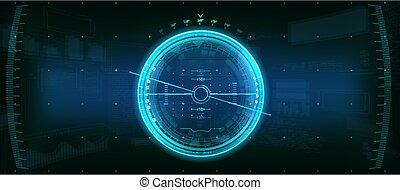 utilisateur, hud., élément, gadget, futuriste
