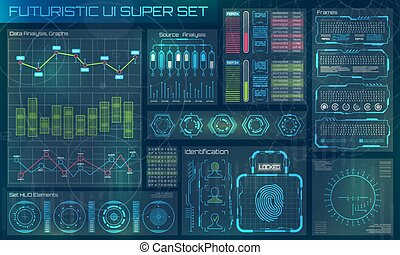 utilisateur, interface., infographic, futuriste, hud, mouvement, éléments, conception