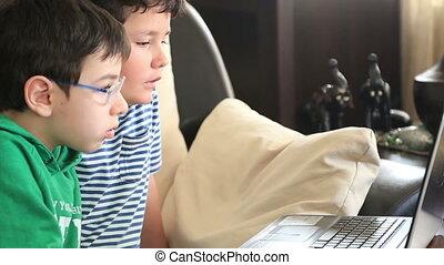 utilisation, école, informatique, enfants
