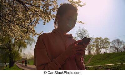 utilisation, app, femme, smartphone