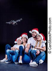 utilisation, bourdon, hexacopter, famille
