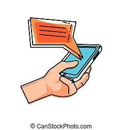 utilisation, bulles, smartphone, parole, main