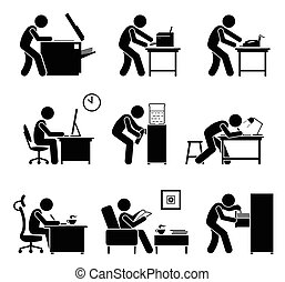 utilisation, bureau, workplace., equipments, employés