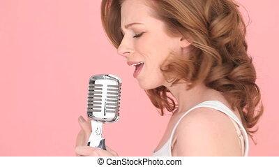 utilisation, chanteur, microphone