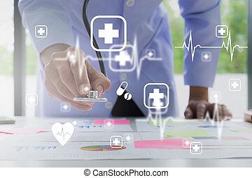 utilisation, concept., interface, monde médical, réseau, écran, moderne, docteur, icône, stéthoscope, virtuel, technologie