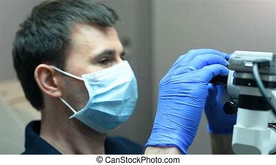 utilisation, dentiste, microscope