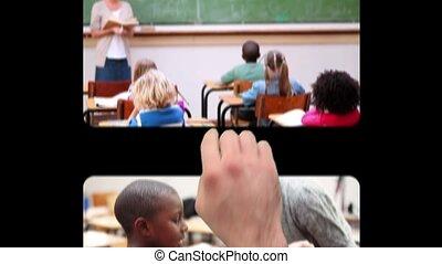 utilisation, enfants, main, écrans