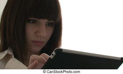 utilisation, femme, tablette, numérique
