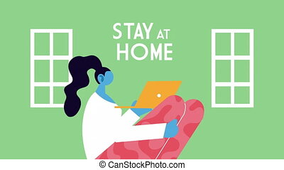utilisation, fonctionnement, maison, ordinateur portable, femme