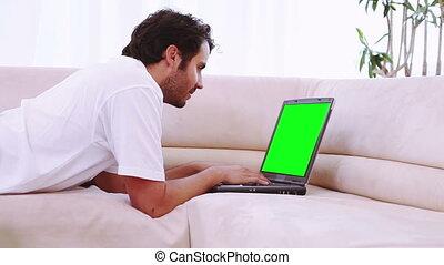 utilisation, gens, ordinateur portable, vidéos