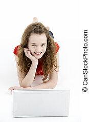 utilisation, girl, informatique, ordinateur portable, jeune