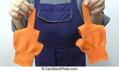 utilisation, gloves., homme, travail, doigt milieu, spectacles