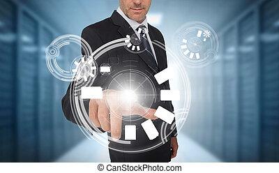 utilisation, homme affaires, interface, cercle