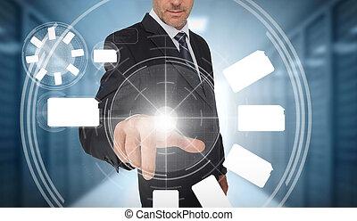 utilisation, interface, roue, homme affaires