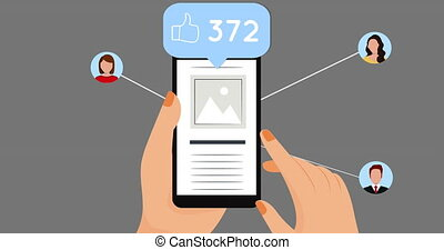 utilisation, main, smartphone, icônes, réseau, contre, gris, arrière-plan numérique, sur, animation