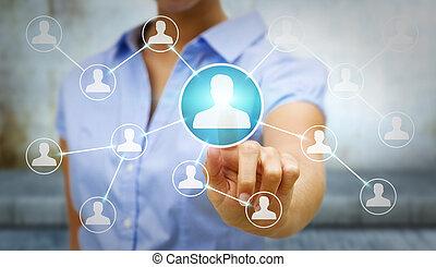utilisation, réseau, femme affaires, moderne, social