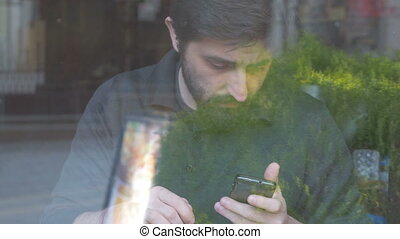 utilisation, sien, smartphone, café, homme