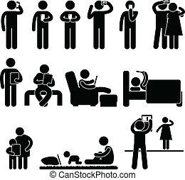 utilisation, smartphone, tablette, homme