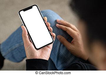 utilisation, sommet, blanc, téléphone, homme, vue, intelligent, écran