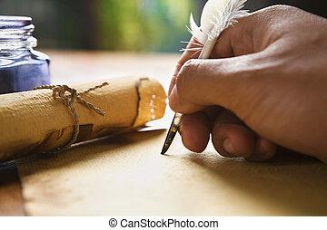 utilisation, stylo, main, penne, écriture