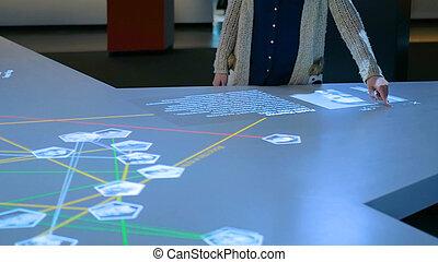 utilisation, touchscreen, exposer, interactif, femme