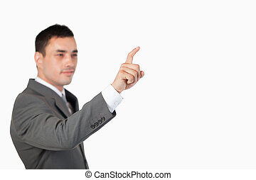 utilisation, touchscreen, invisible, homme affaires