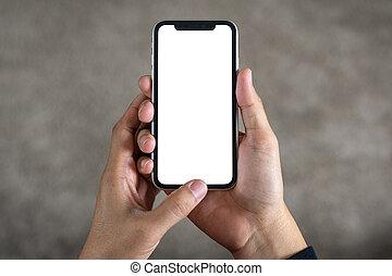 utilisation, vue, sommet, téléphone, main, intelligent, blanc écran