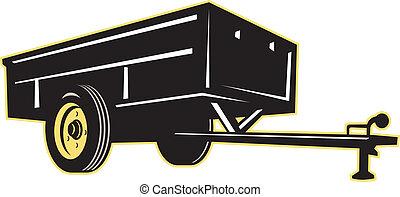 utilité, voiture, caravane, côté, jardin