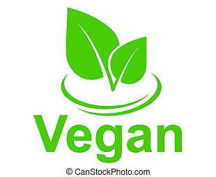 végétarien, feuilles vertes, signe