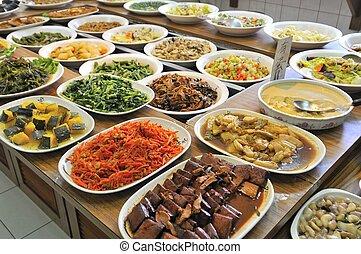 végétarien, repas, buffet