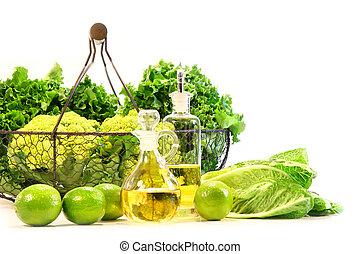végétariens, frais, jardin, chaux