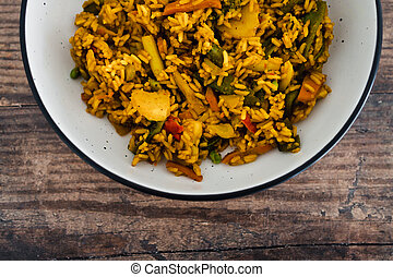 végétariens, vegan, remuer, curcuma, nourriture, frit, frire, plant-based, riz