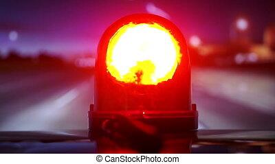 véhicule, urgence, conduite, pov, lumière, flash, rouges, nuit, autoroute