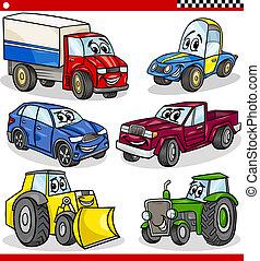 véhicules, rigolote, ensemble, dessin animé, voitures