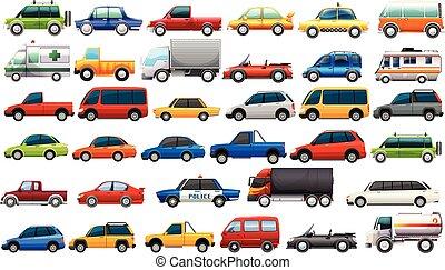 véhicules, route, ensemble