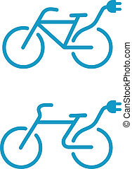 vélo, électrique, icône