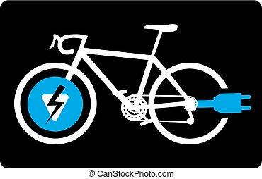vélo, électrique, signe