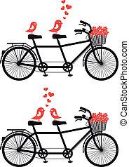 vélo, amour, vecteur, oiseaux