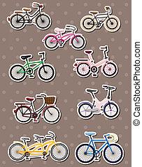 vélo, autocollants, dessin animé