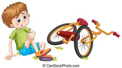 vélo, baissé, garçon, fermé