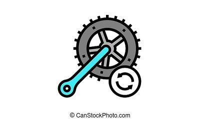 vélo, barres, remplacement, connecter, icône, animation, couleur