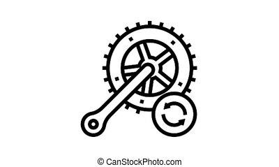vélo, barres, remplacement, connecter, icône, animation, ligne