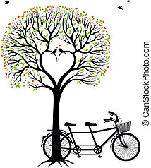 vélo, coeur, arbre, oiseaux