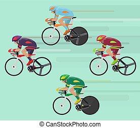 vélo, concept., cyclistes, course, courses, route, homme