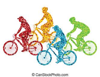 vélo, concept, vélo, coloré, illustration, vecteur, fond, silhouette, sport, cavalier, route