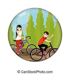 vélo, couple, équitation
