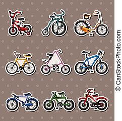 vélo, dessin animé, autocollants